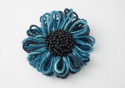 Petrol Blue Flower Brooch
