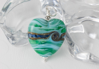 Sea Heart Lampwork Pendant