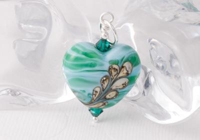 Green Heart Lampwork Pendant