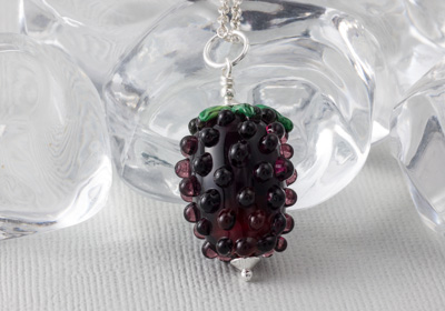 Lampwork Blackberry Pendant