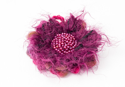 Pink Fluffy Flower Brooch