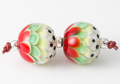 Red Dahlia Lampwork Beads