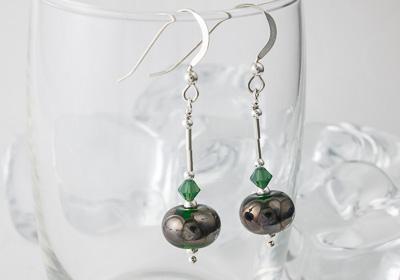 Metallic Green Lampwork Earrings