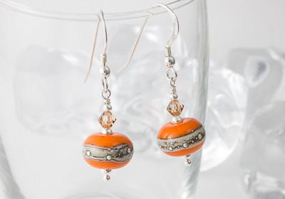 Orange Lampwork Earrings