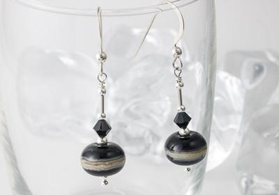 Black Lampwork Earrings