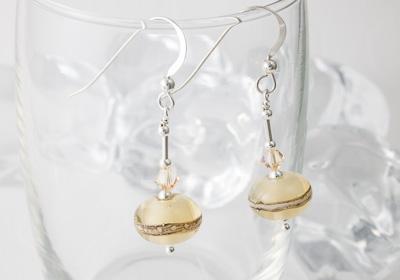 """Vanilla"" Lampwork Earrings"