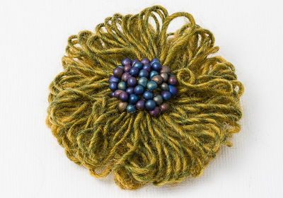 Olive Green Beaded Brooch