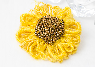 Sunflower Beaded Brooch