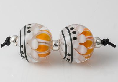 Orange Lampwork Dalhia Bead Pair