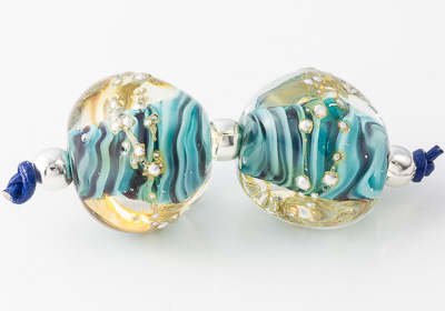 Turquoise Lampwork Nugget Beads