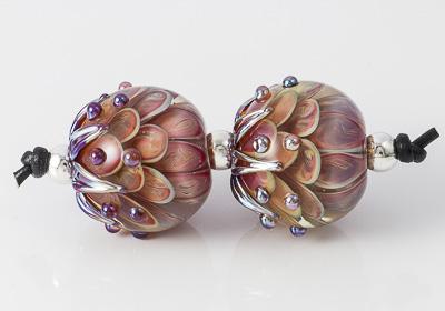 Silver Glass Lampwork Dalhia Bead Pair