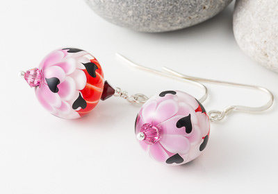 Heart Lampwork Earrings