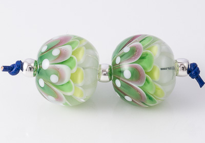 Green Lampwork Dahlia Beads