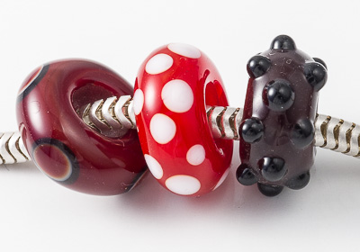 Red Lampwork Charm Beads