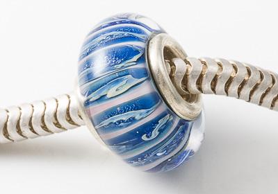Mottled Blue Silver Cored Lampwork Bead