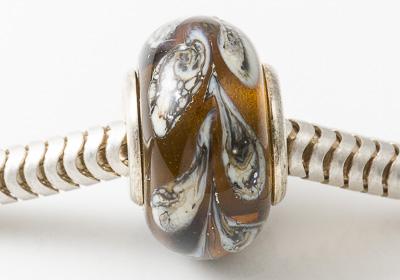 Brown Leaf Silver Cored Lampwork Bead