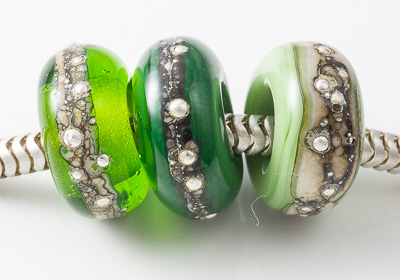 Green Lampwork Charm Beads
