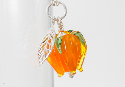 Orange Rose and Leaf Pendant