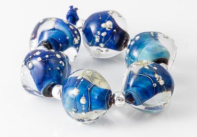 Blue Lampwork Nugget Beads
