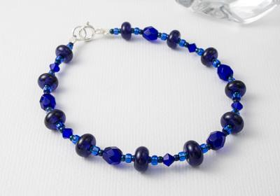Cobalt Blue Lampwork Bracelet