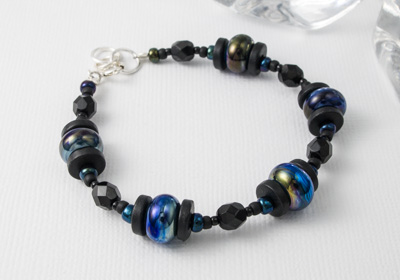 Black and Blue Lampwork Bracelet