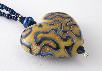 Silvered Heart Lampwork Necklace