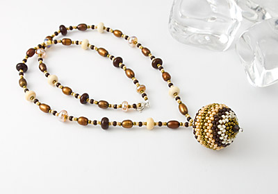 """Cocoa"" Beaded Bead Pendant Necklace"