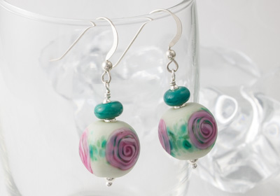 Rose Lampwork Earrings