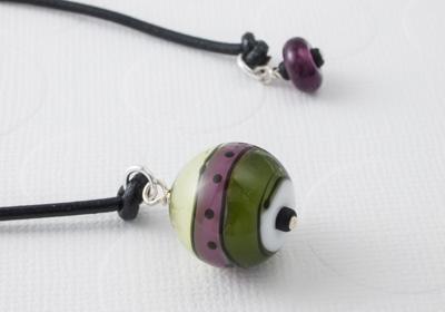 Olive Green Rainbow Lampwork Bookmark