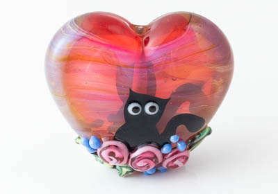 Kitty Lampwork Heart Bead