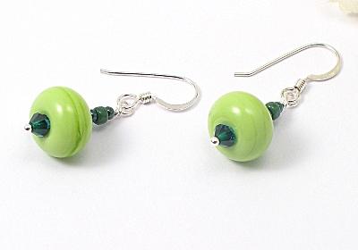 """""""Spring Green"""" Lampwork Earrings"""