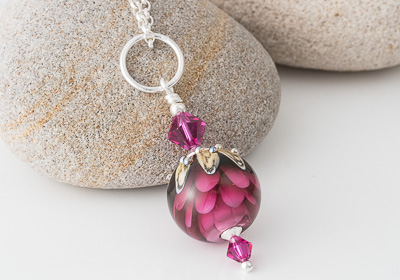 Pink Dahlia Lampwork Pendant