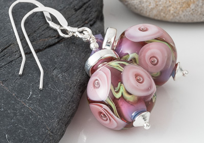 Pink Rose Lampwork Earrings