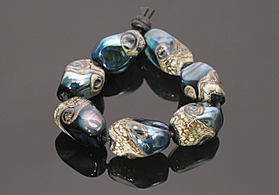 silvered nugget lampwork beads