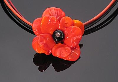 poppy sculptural lampwork bead