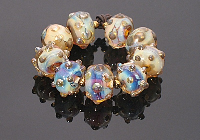 Reichenback Dark Silver Brown Glass Lampwork Beads