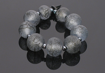 Pale Blue Lacy Tumbled Glass Beads