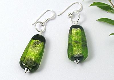 Green Silver Foil Earrings