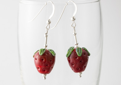 Lampwork Strawberry Earrings