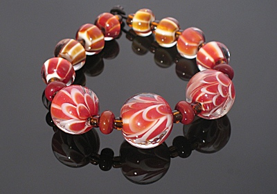 Red Flower Beads