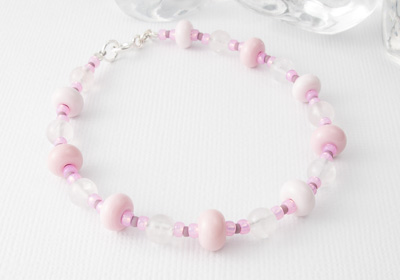 Rose Quartz and Lampwork Bracelet