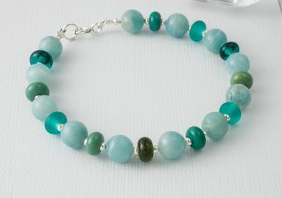 Lampwork Glass and Amazonite Bracelet