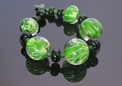 Green Flower Lampwork Beads