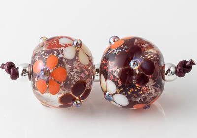 Dichroic Flowery Lampwork Beads