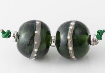Dark Green Lampwork Beads