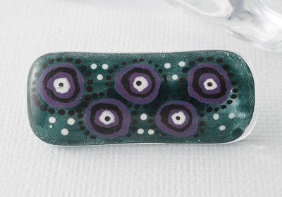 Hand Painted Glass Fused Brooch