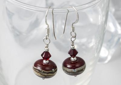 Dark Red Lampwork Earrings