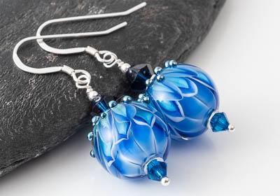 Blue Dahlia Lampwork Earrings