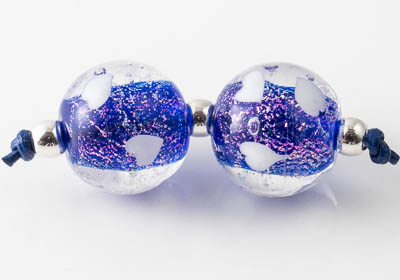 Dichroic Lampwork Heart Beads