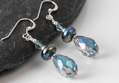 Sparkly Blue Silver Earrings